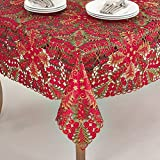 Fennco Styles Embroidered Christmas Tree Cutwork Tablecloths - 2 Sizes (84'' Square, Red)