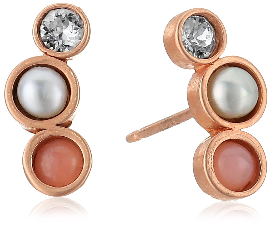 Dogeared Playing By Ear Two Hole Lip Card Trio-Pink Opal, Pearl Crystal Stud Earrings, Rose Gold