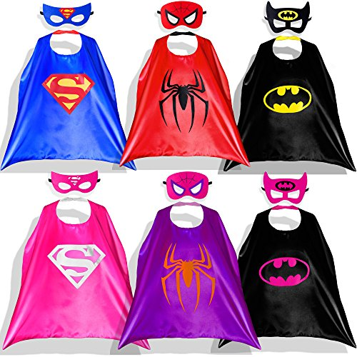 Girl Capes (Lazu Superhero Dress Up Costumes 6 Satin Capes with Felt Masks for both Girls and Boys)