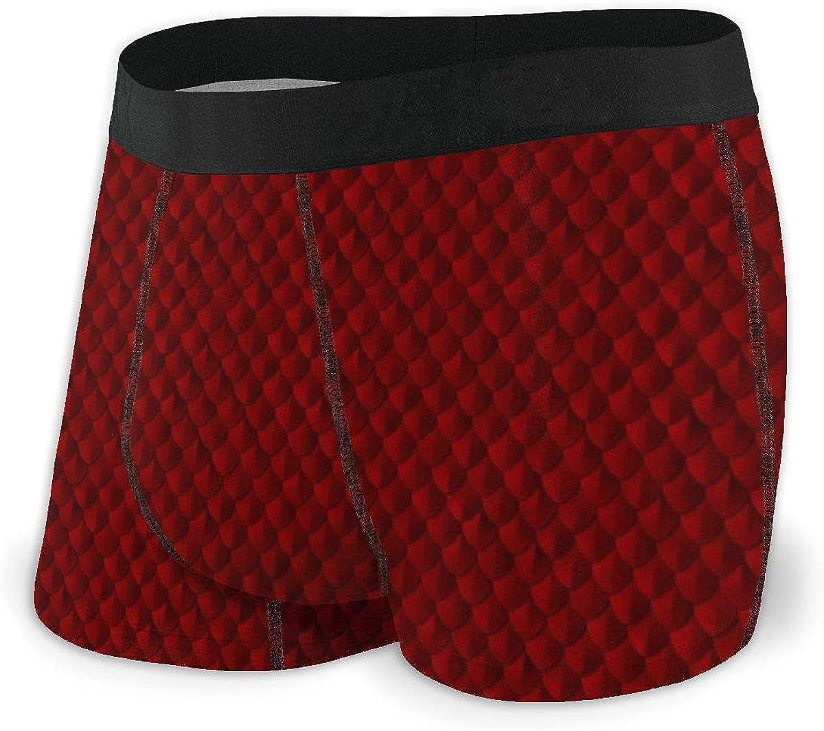 Red Fish Scales Men Regular Leg Boxer Brief Underwear Ride-Up Panties