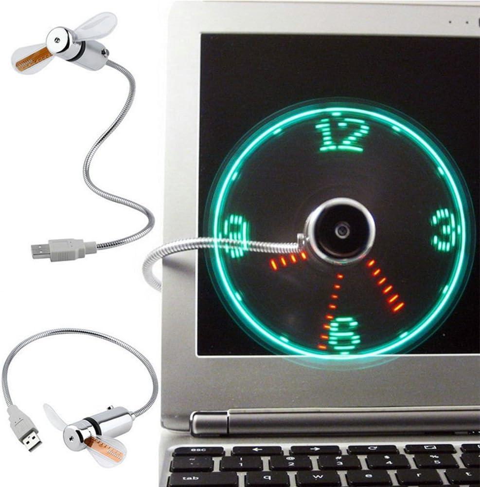 Uonlytech Flexible Mini USB LED Cooling Flashing Fan PC Laptop Notebook Desktop