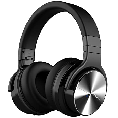 COWIN E7 PRO Upgraded Active Noise Cancelling Headphones Bluetooth Headphones with Microphone Deep Bass Wireless Headphones Over Ear 30H Playtime for Travel Work TV Computer Cellphone – Black