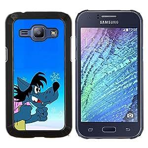 TECHCASE---Cubierta de la caja de protección para la piel dura ** Samsung Galaxy J1 J100 ** --Lobo de la historieta cómica del personaje ruso divertido