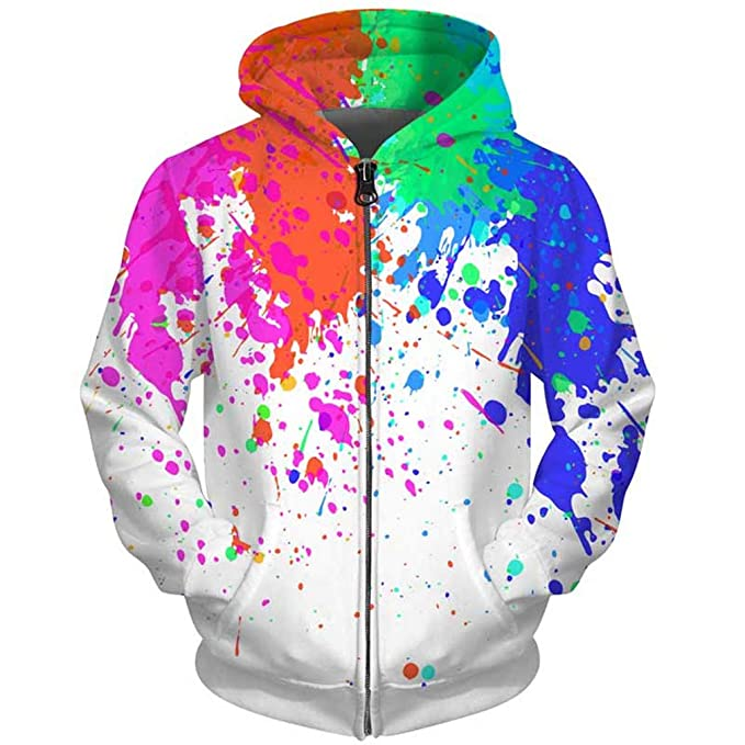 Amazon.com: UkEdNs 3D Men Hoodies Zip Up Splatter Color Paint Stains 3D Print Streetwear Casual Jacket Men Women Outwear: Clothing