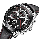 Mens Watches Men Luxury Chronograph Waterproof Sport Date Calendar Analogue Quartz Wrist Watch Gents Multifunction Fashion Casual Business Dress Watches Black Genuine Leather Strap (black)
