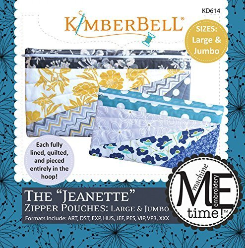 Kimberbell Designs The Jeanette Zipper Pouches Large and Jumbo with Embroidery CD KD614