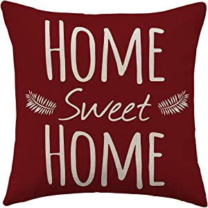 WFLOSUNVE Home Sweet Home Decorative Throw Pillow Cover 18x18 Inch, Faux Linen Red Warm Quote Cushion Case for Couch and Sofa