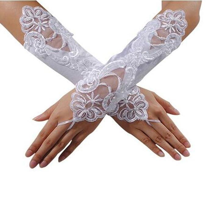 1c9e8171d881 Westeng Hochzeit Handschuhe Weiß Handschuhe Damen Spitzen Blume künstlich  Perlen Fäustlinge Foto Modellierung Kleid Handschuhe hängen
