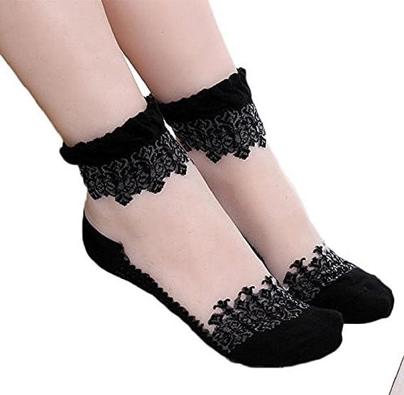 Tenworld Women Girl Ultrathin Transparent Crystal Lace Elastic Short Socks (Black)