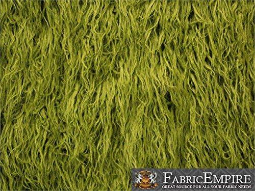 (Faux Fur Long Pile Curly Fabric ALPACA LODEN GREEN / 60
