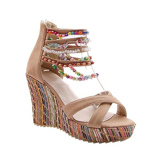 Zapatos blancos Tacón de cuña étnicos para mujer Fechas de lanzamiento baratas Comprar en línea Outlet Outlet Classic b1SYQHDd28