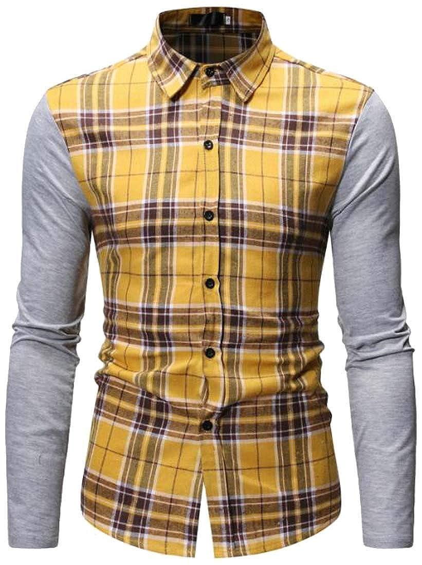 Hajotrawa Mens Fall Hooded Plaid Slim Long Sleeve Contrast Color Button Down Shirts