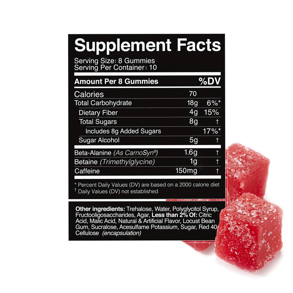 Hilo Pre Workout Gummies – No Powder Pre Workout for Men and Women – with Caffeine, Beta Alanine and Betaine – Red Fish Flavor, 80 Count