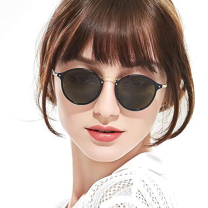 5b884c212d SODQW Round Sunglasses Retro for Women Polarized with Vintage Circle Frame  - UV 400 Protection(