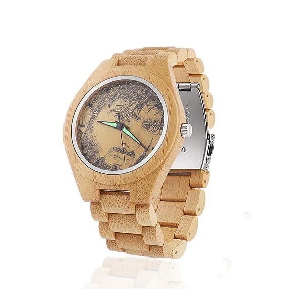 Reloj de Madera con Foto Personalizada Reloj de Madera de Bambú Natural para Hombre Relojes de