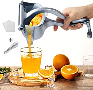 YAUNGEL Newest Manual Metal Fruit Juicer, Portable Fruit Press Lemon Squeezer, Hand Squeezer Fruit Juicer Citrus Steel Juicer Extractor Tool-20 Filter Bags Included(Grey blue)