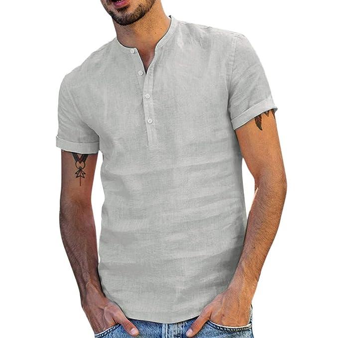 Yivise Camiseta Lisa de Hombre de Manga Corta con Botones Estilo ...