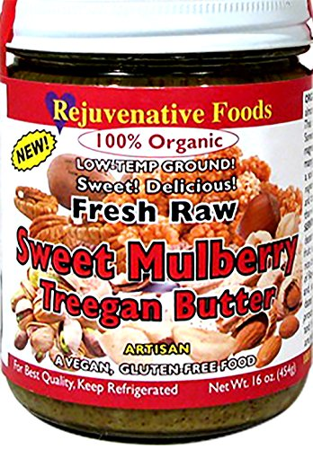 Fresh Raw Organic Mulberry Sweet Treegan Nut Butter Mix Rejuvenative Foods Candy-In-Glass Low-Temp-Ground Pistachio-Pecan-Hazelnut-Almond-Brazil Nut Vegan Antioxidant USDA-Certified-Organic-8 oz
