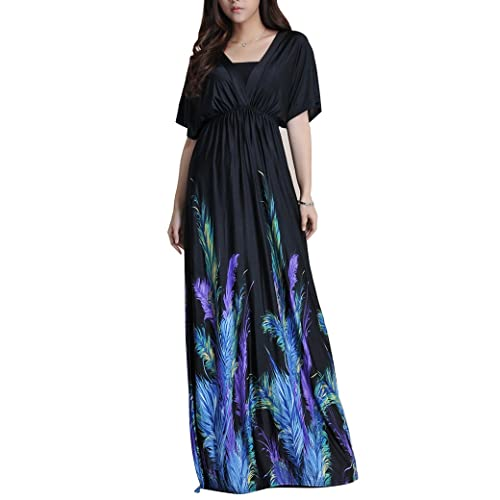 JET-BOND Plus Size Beach Maxi Dress FS51 Long Bohemian Floral Printing Floor Dress Deep V Neck XL to...