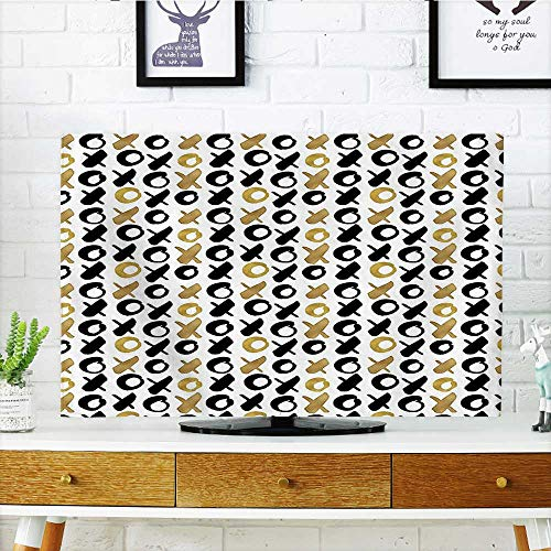Auraisehome Television Protector Digital XOXO Nought and Crosses Love Valentines Pattern in Gold Black Television Protector W36 x H60 INCH/TV 65