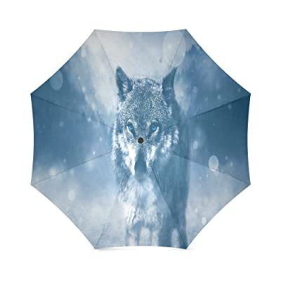 Custom wolf Compact Travel Windproof Rainproof Foldable Umbrella well-wreapped