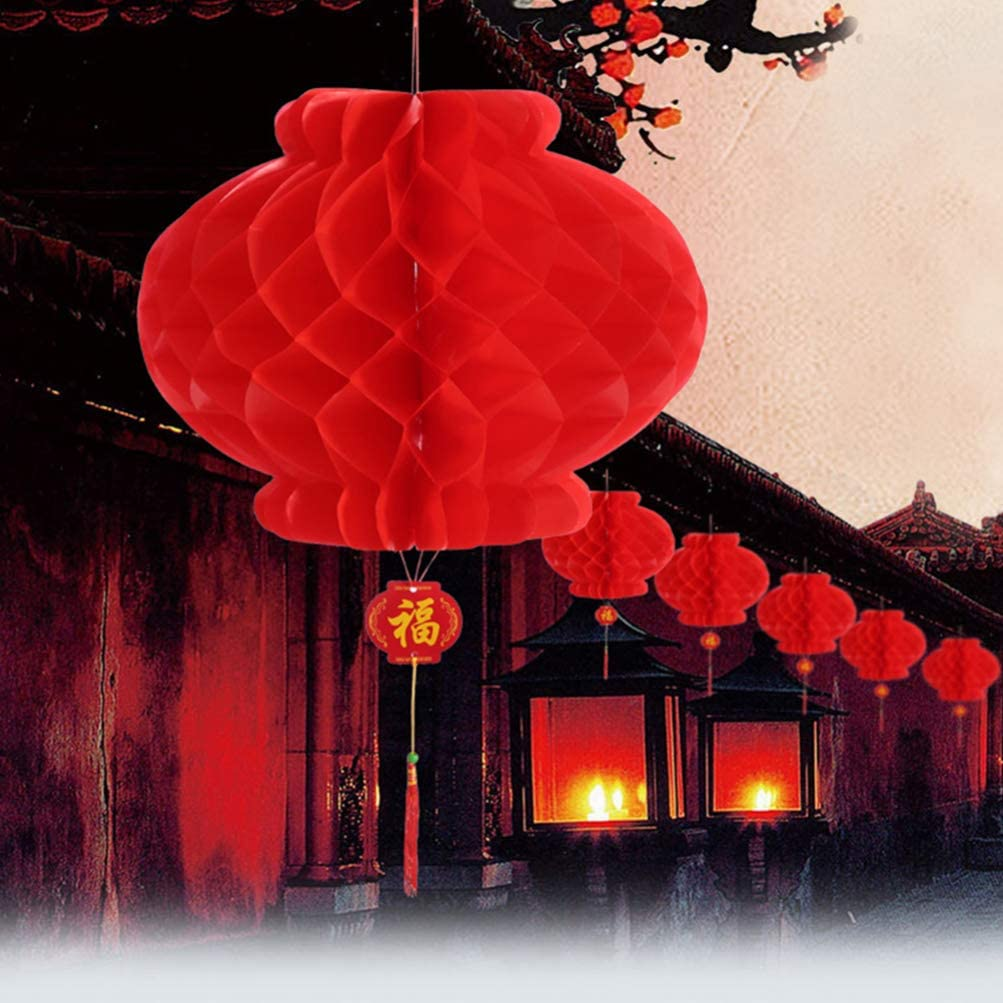 Uonlytech 35Pcs Chinese Red Paper Lanterns Honeycomb Ball Hanging Ornament for New Year Spring Festival Wedding Decoration