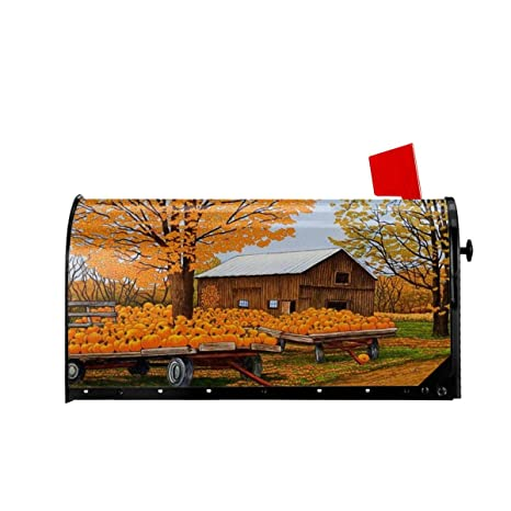Foruidea Autumn Fall Trees Mailbox Covers Magnetic Mailbox Wraps Patriotic Post Letter Box Cover Standard Oversize 25.5x21 Makover MailWrap Garden Home Decor