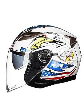ZYear Casco para Motocicleta Bandera Blanca Brillante Cara Abierta con Doble Lente Protección UV Casco de
