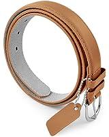 Belle Donne Women's Skinny Thin Belts 1in Bonded Leather Dress Belt Metal Buckle