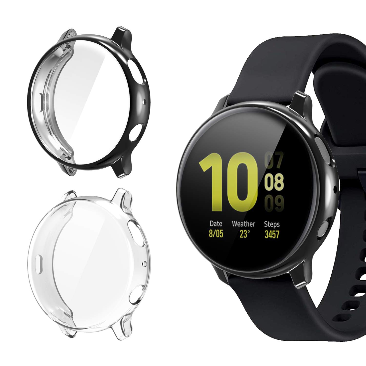 2 fundas para samsung watch active 2, negro y clear
