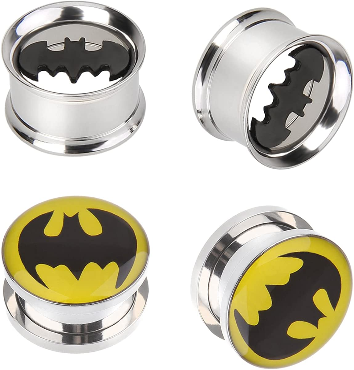 IPINK-Batman Stainless Steel Screw-On Gauges/Tunnels Double Flare Ear Plugs 2 Pairs