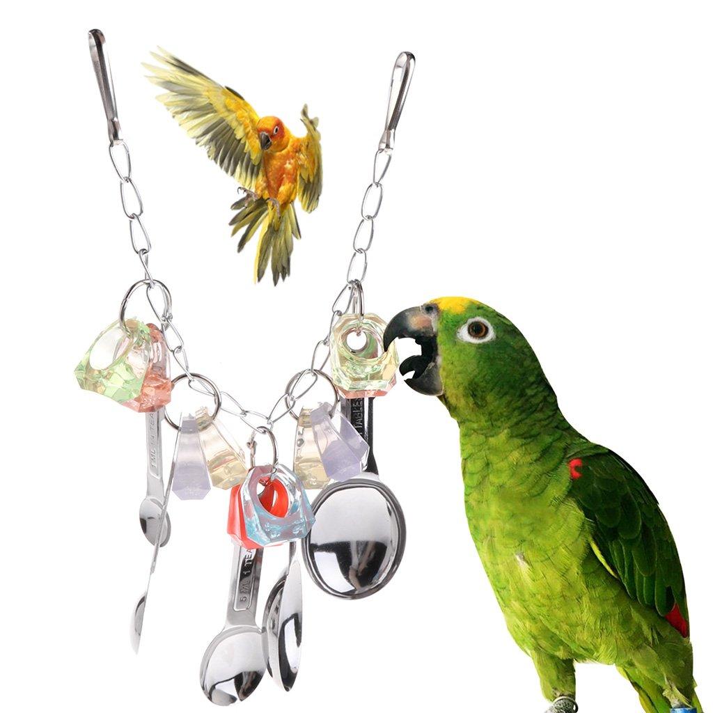 Zzqyis Juguetes de Loros Cuchara de Metal Anillos de Colores Jaula para Colgar Mascotas Aves Chew Cadena Acr/ílico