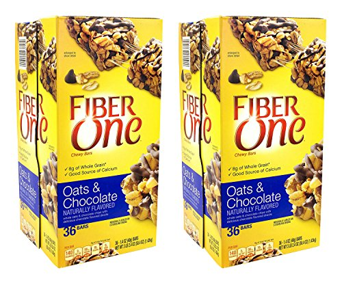 Fiber One Chewy Bars Oats & Chocolate 36- 1.4 Oz Bars (Pack of 2) (Fiber Oats One)