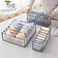 Underwear Drawer Organizer Set, Foldable Underwear Storage Divider Boxes Includes 6/7/11 Cell Collapsible Closet…