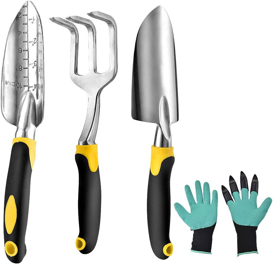 Lutherst Garden Tool Set, 3 Piece Cast-Aluminum Heavy Duty Garden Hand Shovels Gardening Kit with Ergonomic Rubberized Non-Slip Grip,Included Trowel and Cultivator Hand Rake,Garden Gifts