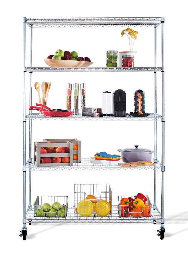 Charmant Amazon.com: TRINITY 5 Tier NSF EcoStorage Shelving Rack With Wheels, 48 By  24 By 72 Inch, Chrome: Home U0026 Kitchen