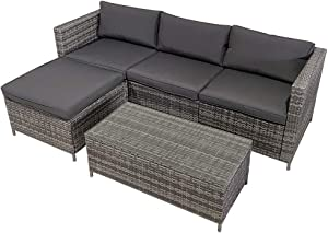Outdoor Patio Furniture Couch 5 Piece Set Sectional Rattan Sofa Sets, All Weather PE Wicker Couch Conversation Set with Table, Brushed Mixed Gray Wicker, Grey Cushions