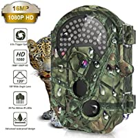 Trail Camera,THZY Waterproof 16MP 1080P HD Game Hunting Camera with Sound 120° Wide Angle Lens 0.5s Trigger Speed 38 Pcs 940nm IR LEDs No Glow Black Infrared Night Version up to 20M/65FT for Hunting
