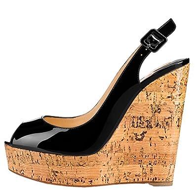 b88f32055ebea MERUMOTE Women's Wedge Shoes Heeled Sandals High Platform Open Toe Ankle  Strap Sandals Black 5.5 US