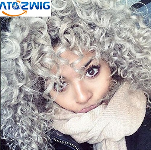 [ATOZWIG New Heat Resistant Synthetic Black To Grey Curly Wigs Pixie Cut Hair Kinky curly wig For Black Women Peruca] (Curly Wigs For Black Hair)