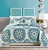 navy and green quilt - 3-Piece Fine printed Quilt Set Reversible Bedspread Coverlet (California) CAL KING SIZE Bed Cover (Turquoise, Off-White, Navy Blue, Grey)