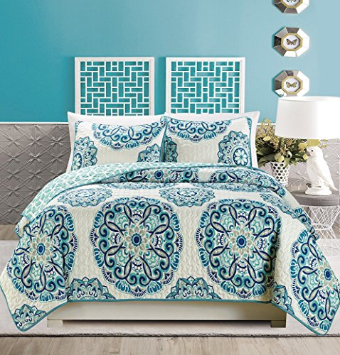 3-Piece Fine printed Quilt Set Reversible Bedspread Coverlet FULL / QUEEN SIZE Bed Cover (Turquoise, Off-White, Navy Blue, Grey)