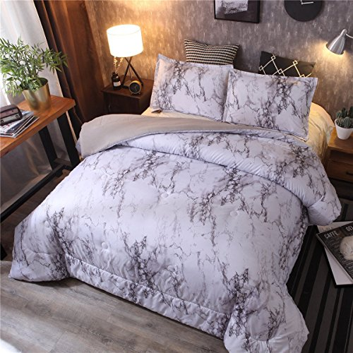 NTBED Marble Comforter Set Queen with 2 Matching Pillow Shams Brushed Quilt Bedding Sets (Marble, Queen)