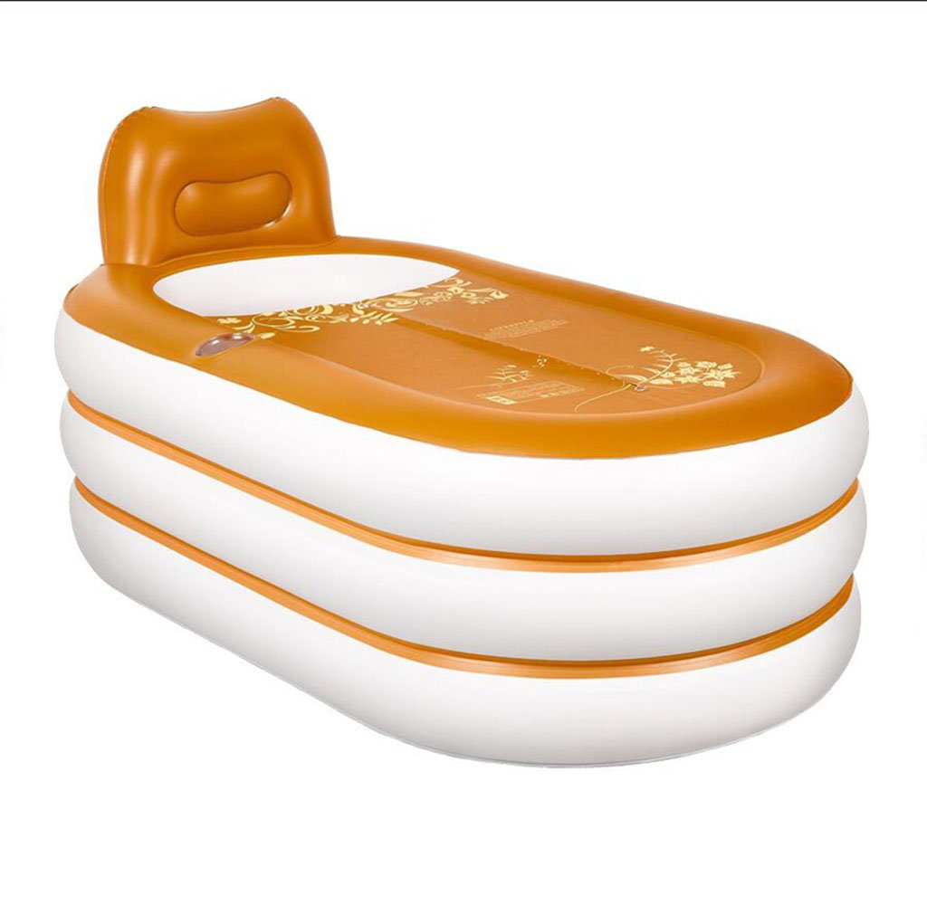 GYZ Bathtub-Home European Inflatable Bathtub Adult Folding Plastic Bathtub Portable Bathtub Adult Bath Barrel Bath Barrel PCV Material Yellow Leather Pattern Inflatable hot tub