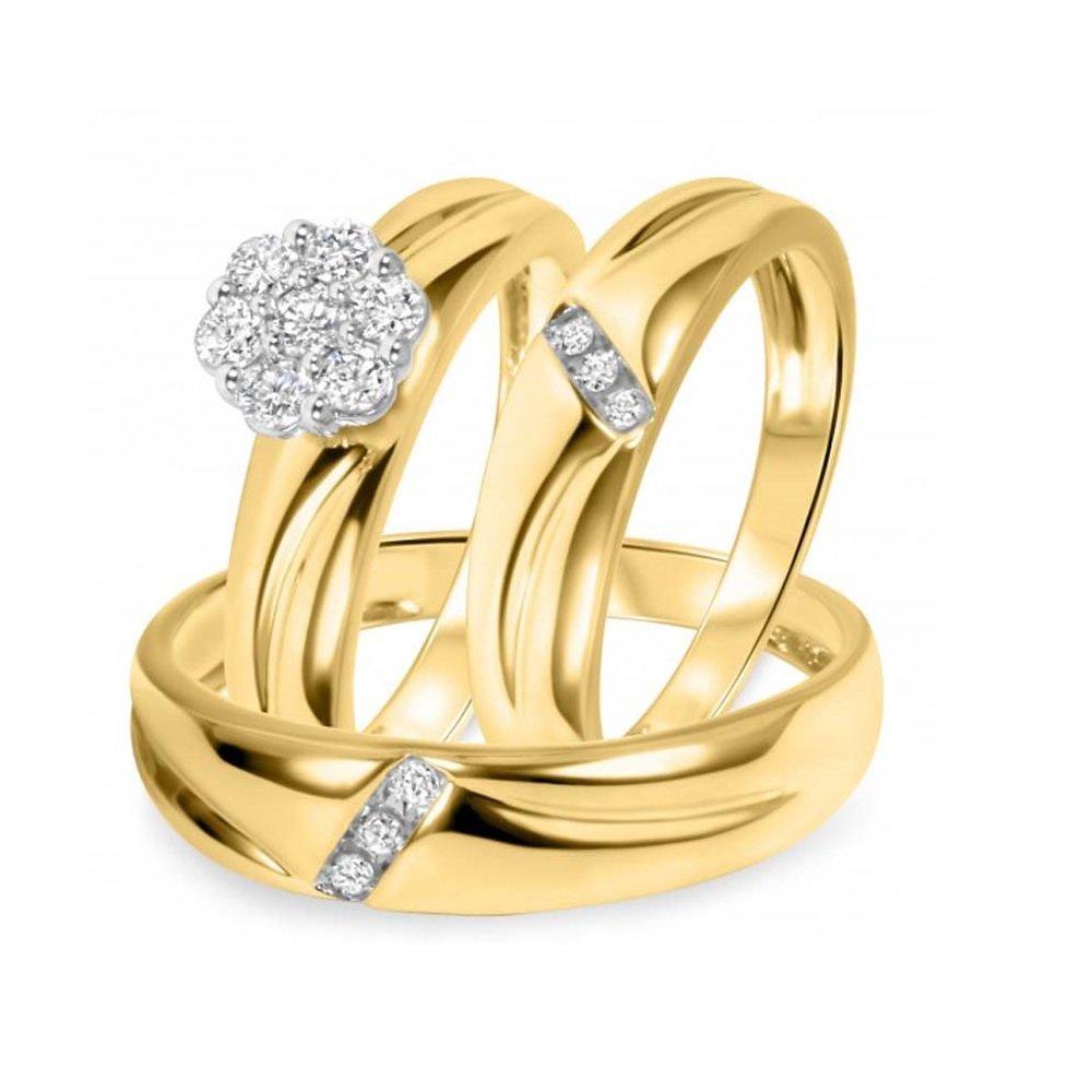 Smjewels 1/2 CT. T.W. Diamond Trio Matching Wedding Ring Set 10K Yellow Gold Fn Silver
