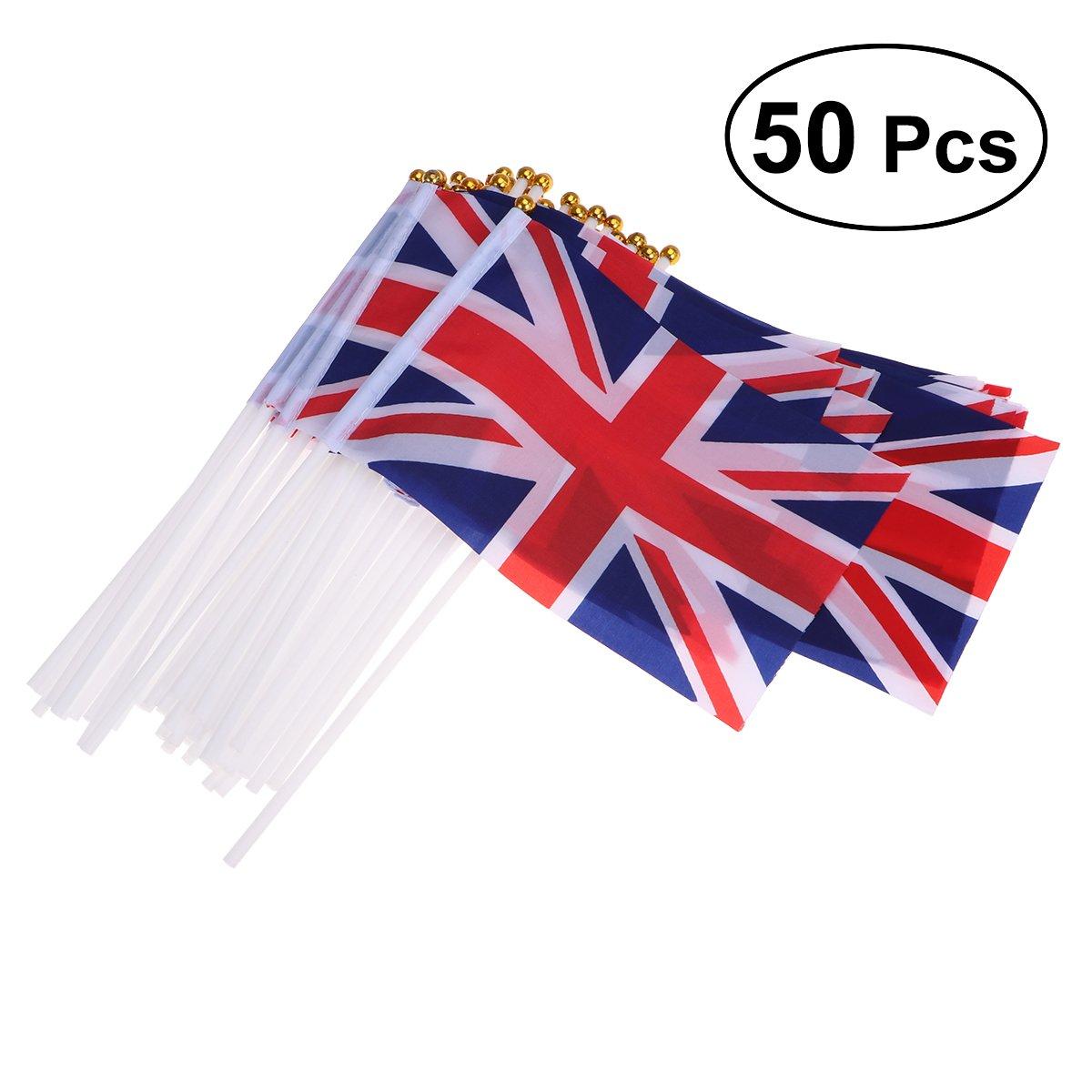 BESTOYARD Union Jack Hand Waving Flag Royal Jubilee UK GB Great Britain Flags Pack of 50