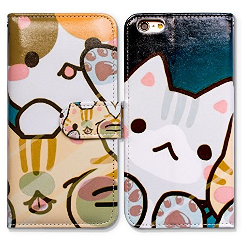 Bfun Packing iPhone 5/5S Case,iPhone Se Case,Bcov Cartoon White Cat Card Slot Wallet Leather Cover Case For iPhone 5 5S Se