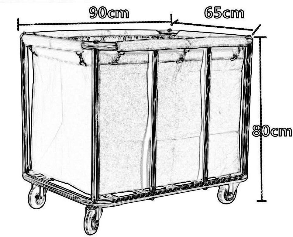 YXX-Chariot /à Linge Chariot de trieuse de blanchisserie dacier inoxydable avec la roue silencieuse chariot /à organisateur de stockage de pi/èce de blanchisserie dh/ôtel avec le sac d/étachable