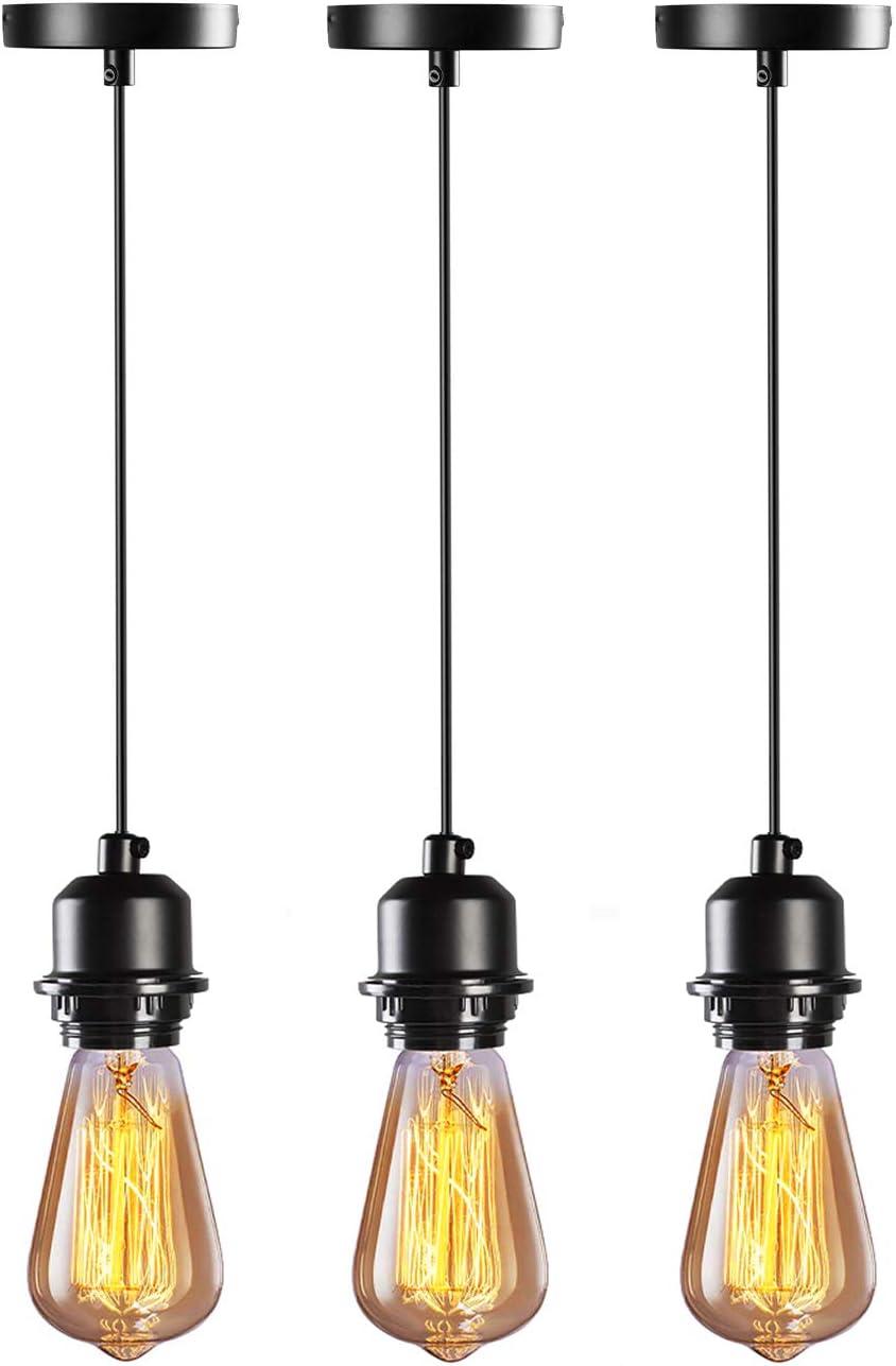 HXMLS Industrial Pendant Light Cord,Pendant Light Kit E26 UL Lamp Socket,with Adjustable UL Lamp Wire Hanging Light Kit for Kitchen Bedroom Home Corridor Studio 3 Pack Black