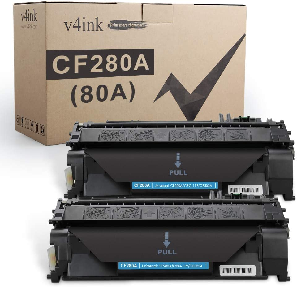 V4INK 2-Pack Compatible Toner Cartridge Replacement for HP 80A CF280A Toner Cartridge Black Ink for use in HP LaserJet Pro 400 M401N M401DN M401DNE M401DW, HP LJ Pro 400 MFP M425DN M425DW Printer